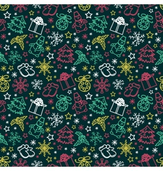 seamless pattern colorful Christmas items vector image vector image