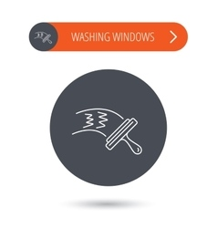Washing windows icon cleaning sign vector