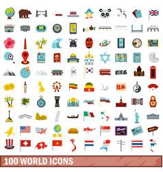 100 world icons set flat style vector image