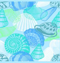 colorful underwater ocean life seamless pattern vector image