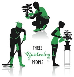 gardening people silhouettes vector image