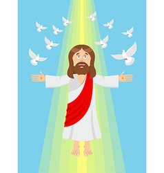 Jesus and pigeons Ascension of Jesus Christ Son of vector image
