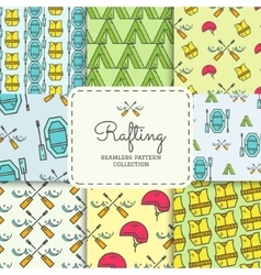 Rafting equipment seamless pattern collection vector image vector image