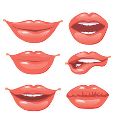 set of female lips on a white background vector image