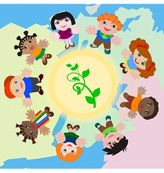 The Sprout in the Sun and Children of the World ho vector image