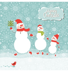 a family of three snowmen vector image vector image