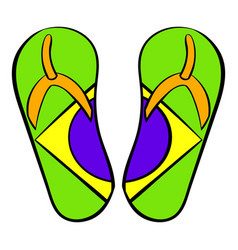 brazilian flip flops icon cartoon vector image vector image