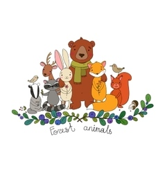 Cute animals of the forest vector image vector image