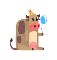 cute cartoon cow in a party hat sitting and vector image vector image