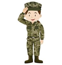 Female soldier in green uniform vector image vector image