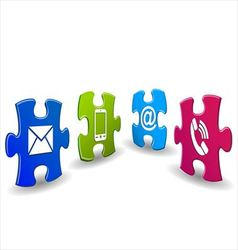 Puzzle with contact icon vector image vector image