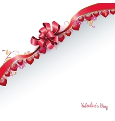 Red bow with hearts vector image