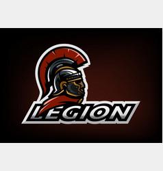 Roman legionnaire logo on a dark background vector