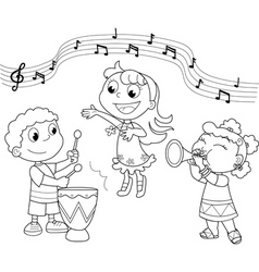 Young music band vector image vector image