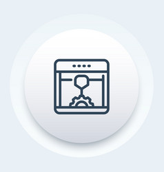 3d printer additive manufacturing line icon vector image
