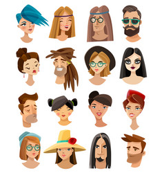 avatars set in cartoon style vector image vector image