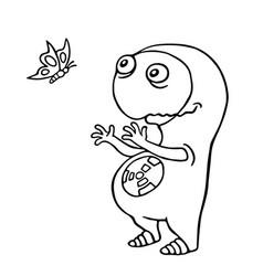 Friendly space alien enjoy the butterfly vector