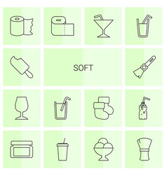 14 soft icons vector