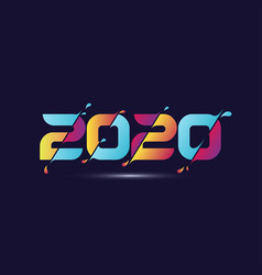 2020 colorful text isolated on dark blue vector