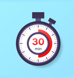 30 minutes timer stopwatch icon in flat style vector