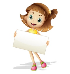 A girl with a card board vector image