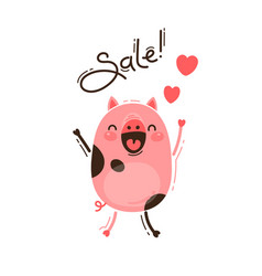 A joyful pig reports a sale happy pink piglet vector