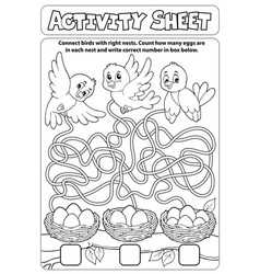 Activity sheet maze theme 1 vector