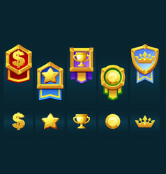 award gold badges with icons for winner ui vector image