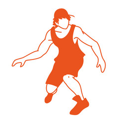 Basketball player man with aerodynamic position vector