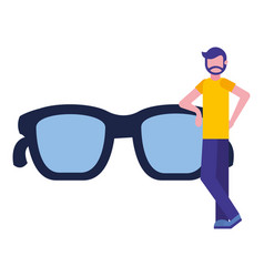 bearded man standing near glasses vector image