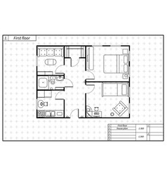 black architecture plan of house in blueprint vector image