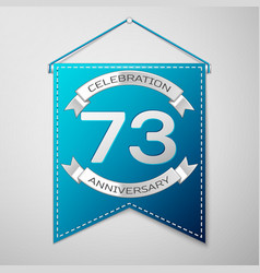 blue pennant with inscription seventy three years vector image