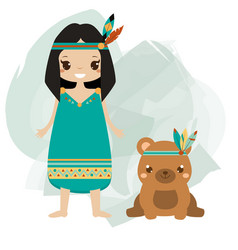 Boho kid indian girl and tribal animal bear vector