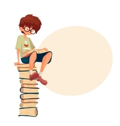 Boy in glasses sitting on pile of books and vector image vector image