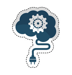 brain connected with gear vector image
