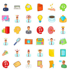 business contract icons set cartoon style vector image
