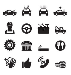Car service car care icons set vector