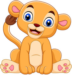 Cartoon baby lioness isolated on white background vector
