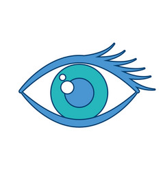 Cartoon eye look eyebrow visual icon vector