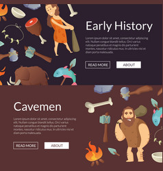 Cavemen banners and poster stone age vector