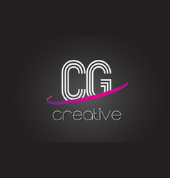 Cg c g letter logo with lines design and purple vector