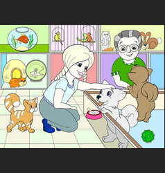Children colored cartoon contact zoo pet shop vector