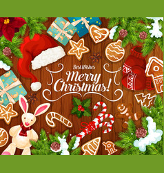 christmas gift and new year presents greeting card vector image