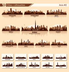 City skyline set 10 silhouettes asia 2 vector