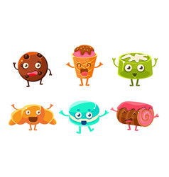 Collection funny desserts characters cookie vector