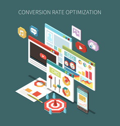 Conversion rate optimization isometric concept vector