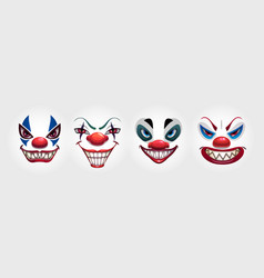 Crazy clowns faces on white background circus vector