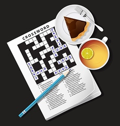 Crossword game mug of tea and pie vector