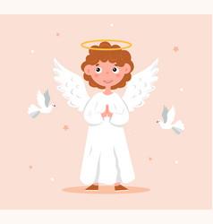 Cute cartoon christmas angel vector