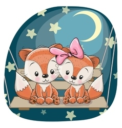 Cute lovers foxes vector